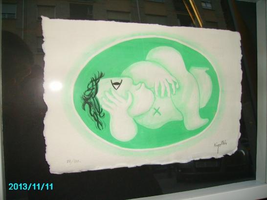 Grabado de Ripolles mujer tumbada verde