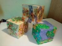 Cubos sobre Madera MDF