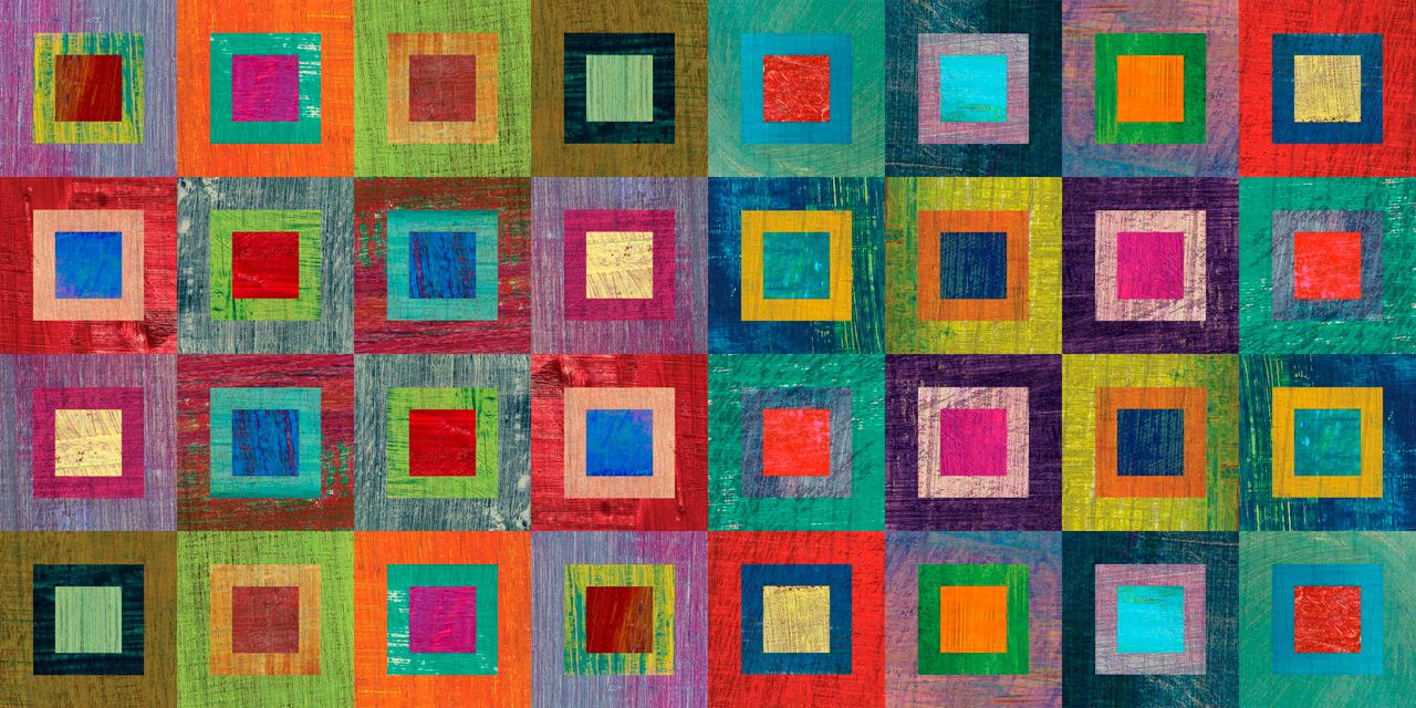 Cuadro abstracto cuadrados colores bme210022 for Plafones cuadrados de pared