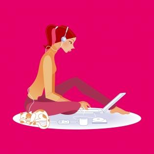 Cuadro chica ordenador (bme085005)