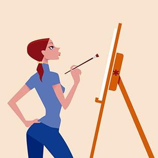 Cuadro chica pintando (bme085010)