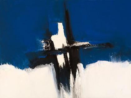 Cuadro abstracto azul amorado y blanco (bme170017)