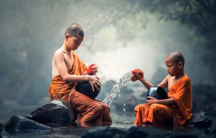 Cuadro ni�os budistas (bpx0502)