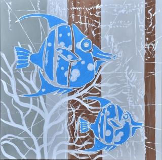 Cuadro peces azules (b117)