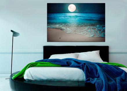 Cuadro luna llena sobre la playa (bfl141094584)