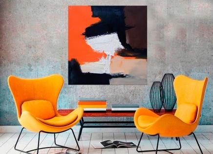 Cuadro abstracto mancha naranja (bme170010)