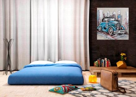 Cuadro coche azul (b112)