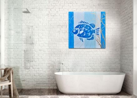 Cuadro pez azul (b116)