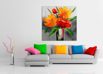 Cuadro flores con bucaro (b145)