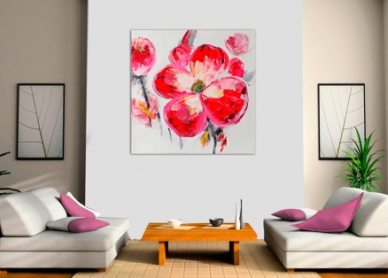 Cuadro flor roja (b146)