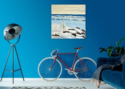 Cuadro chica con bicicleta en la playa (b154)