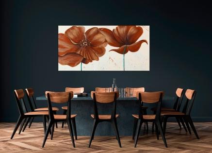 Cuadro flores marrones (b172)