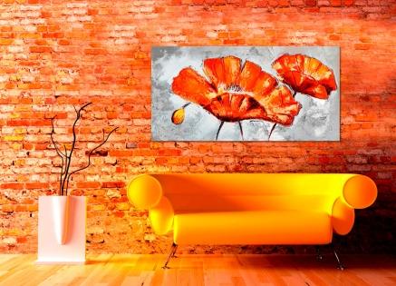 Cuadro flores naranja (b180)