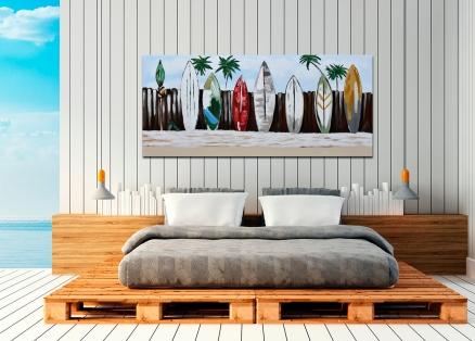 Cuadro paisaje con tablas de surf (b47)