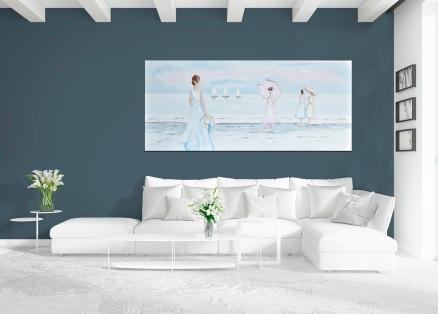 Cuadro paisaje playa con chicas en la orilla (b50)