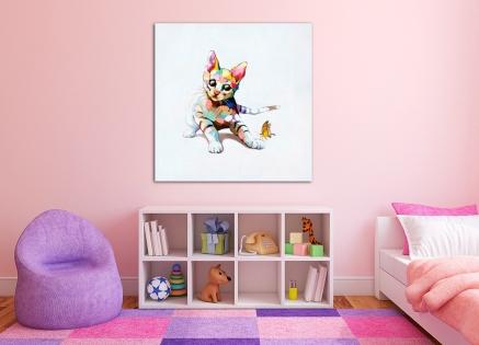 Cuadro gato de colores (b67)