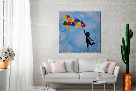 Cuadro niña con globos (bci1120)