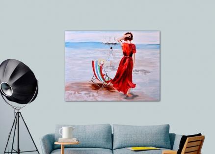 Cuadro chica en la orilla (bci1223)