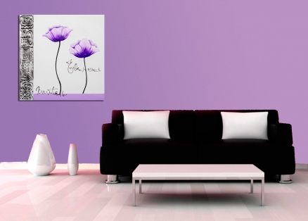 Cuadro flores en morado (bci1301)