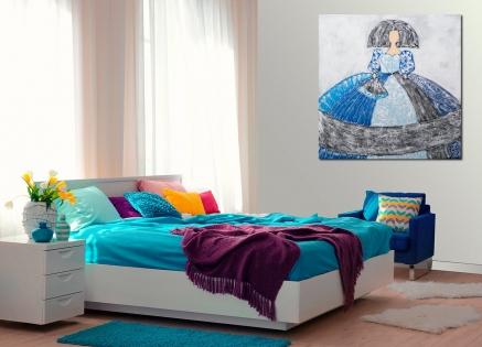 Cuadro menina azul abanico (bci1651)