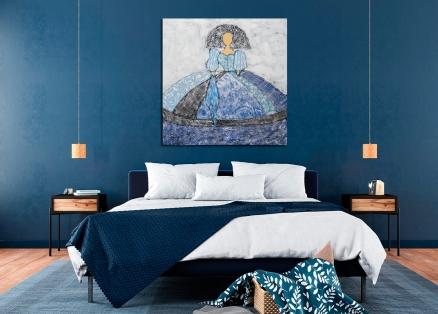 Cuadro Menina azul pañuelo (bci1652)