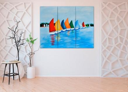 Cuadro barcos tríptico (bdeccy5815)