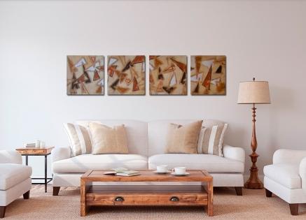 Conjunto cuatro cuadros abstractos (bdga016)