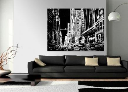 Cuadro ciudad moderna en blanco y negro (bept1007)