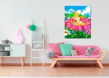 Cuadro infantil niña en flor (bfl51020248)