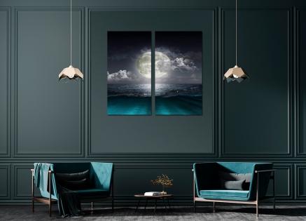 Cuadro diptico paisaje mar y luna (bfl55181762)