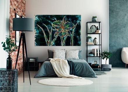 Cuadro flores negro digital arte (bgca0521)