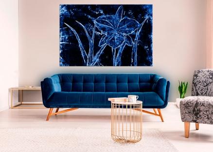 Cuadro flores azules digital arte (bgca0522)