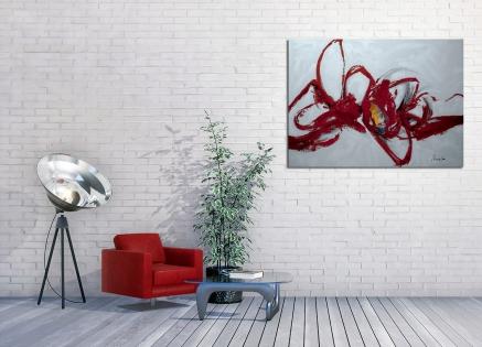 Cuadro abstracto trazos rojos (bjlp082)