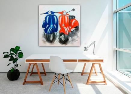 Cuadro motos azul y naranja (bjpd9641)