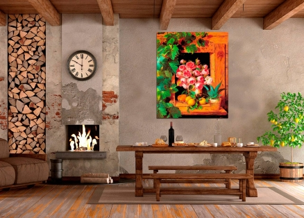 Cuadro flores ventanal (bme010901) adv