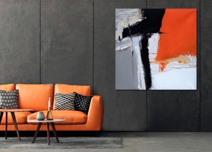 Cuadro abstracto mancha naranja (bme170011)