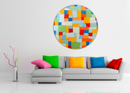 Cuadro abstracto colores redondo (bci1185-rd)