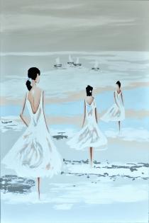 Cuadro chicas en la playa (b20)