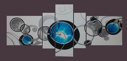 Cuadro multiforma azul 5 piezas (bacb2024)