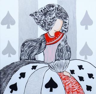 Cuadro Menina poker cartas negras (bci1045)