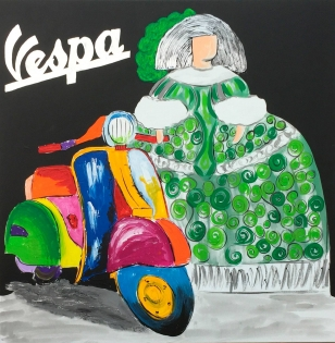 Cuadro menina verde con Vespa (bci1050)