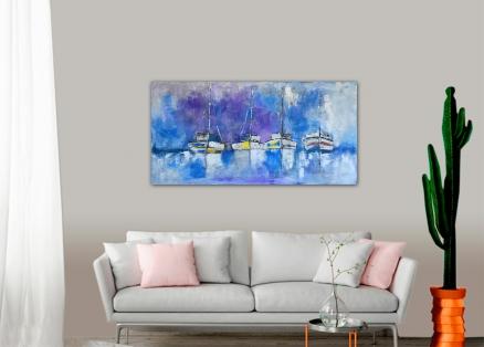 Cuadro barcos en azul (bci1190)