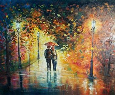 Cuadro pareja bajo la lluvia (bci1200)