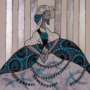Cuadro Menina falda decorada (bci1426)
