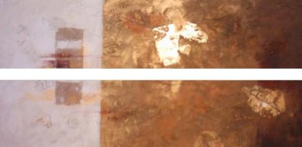 Cuadro diptico abstracto en ocres (bdga017