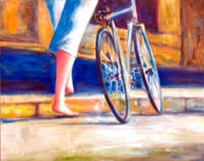 Cuadro chica descalza con bici (bep2108)