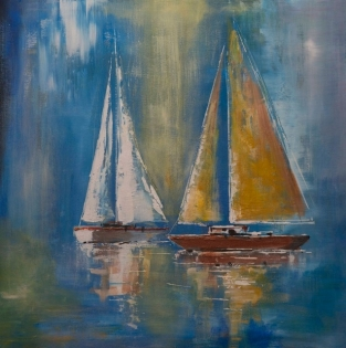 Cuadro veleros fondo azul (bep4075)