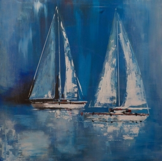 Cuadro veleros azul y blanco (bep4076)
