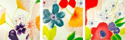 Cuadro flores triptico Low cost (bib10130777)
