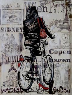 Cuadro collage chica con bicicleta (bjlp010)